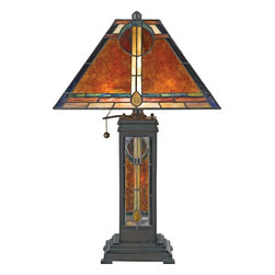 Quoizel - Quoizel NX615TVA San Gabriel Traditional Tiffany Table Lamp - In 1920, museum of International folk art founder, Florence Dibell Barlett first visited New Mexico and stayed at the well-known San Gabriel Ranch. In the 1930's she bought and lovingly restored the 70-acre ranch renaming it El Mirador. Ms. Bartlett loved bright colors and light-filled rooms so she added a number of stained glass windows. The glass maker adapted her favorite Native American beadwork patterns into the designs. The window over the front door provided the inspiration for this piece.
