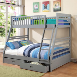 Grey Twin over Full Bunk Bed with Storage Drawers - Make a gift to your kids! This Twin-over-Full Bunk Bed is a real space-saving bed with great functional capabilities, featuring 2 storage drawers located underneath the bed.
