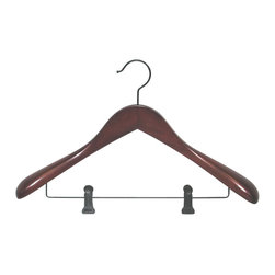 Proman Products - Proman Products Taurus Wide Shoulder Suit Hanger with Clips in Mahogany - Taurus suit hanger with clips, mahogany finish, 12 pcs per case.