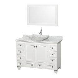 "Wyndham Collection - 48"" Acclaim White Single Vanity w/ White Carrera Top & White Carrera Marble Sink - Sublimely linking traditional and modern design aesthetics, and part of the exclusive Wyndham Collection Designer Series by Christopher Grubb, the Acclaim Vanity is at home in almost every bathroom decor. This solid oak vanity blends the simple lines of traditional design with modern elements like beautiful overmount sinks and brushed chrome hardware, resulting in a timeless piece of bathroom furniture. The Acclaim comes with a White Carrera or Ivory marble counter, a choice of sinks, and matching mirrors. Featuring soft close door hinges and drawer glides, you'll never hear a noisy door again! Meticulously finished with brushed chrome hardware, the attention to detail on this beautiful vanity is second to none and is sure to be envy of your friends and neighbors"