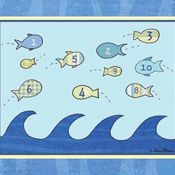 Oh How Cute Kids by Serena Bowman - Big Blue Sea - Counting Fish, Ready To Hang Canvas Kid's Wall Decor, 16 X 20 - Each kid is unique in his/her own way, so why shouldn't their wall decor be as well! With our extensive selection of canvas wall art for kids, from princesses to spaceships, from cowboys to traveling girls, we'll help you find that perfect piece for your special one.  Or you can fill the entire room with our imaginative art; every canvas is part of a coordinated series, an easy way to provide a complete and unified look for any room.