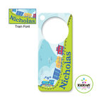 Kidkraft - Kidkraft Kids Train Door Hanger From Vistastores - Can be personalized with any name up to 9 characters in length. All lower case, Font, color and graphic art only as shown, Fits any standard door knob, Reverse side is blank.