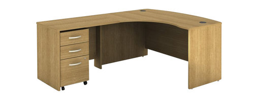 BBF - Bush Series C 3-Piece Left-Hand Computer Bow Desk in Light Oak - Bush - Office Sets - WC60333PKG1 - Bush Series C 3 Drawer Vertal Mobile Wood File Cabinet in Light Oak (included quantity: 1) We put security and convenience on a pedestal. From Bush Furniture, this Series C Collection Three Drawer Pedestal is a majestic solution for those who need multi-functionality in their office furniture. This powerful pedestal cabinet holds letter, legal or A4-sized files.  Features: