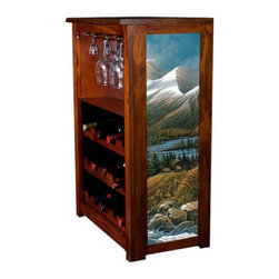 Kelseys Collection - Wine Cabinet 15 bottle Master of the Valley - Wine Cabinet stores fifteen wine bottles and glassware with licensed artwork by Terry Redlin giclee-printed on canvas side panels  The frame, top, and racks are solid New Zealand radiata pine with a hand stained and hand rubbed medium reddish brown finish, which is then protected with a lacquer coat and top coat. The art is giclee printed on canvas with three coats of UV inhibitor to protect against sunlight, extending the life of the art. The canvas is then glued onto panels and inserted into the frames.