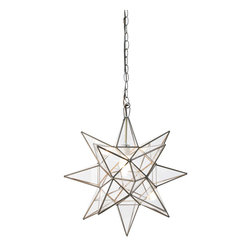 Worlds Away - Worlds Away Extra Large Clear Star Chandelier ACS112 - Extra large clear star chandelier. Uses 1 - 60 watt bulb. Comes with 3' antique brass chain and canopy.
