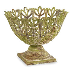 iMax - Santos Green Iron Planter - With the aged look of something fresh from a secret, forgotten garden, the Santos iron planter has a rustic, aged green finish and adds character to homes and gardens.