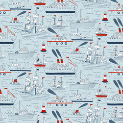 Loboloup - Ships and Sails, Blue Gray, Roll - Plan your next adventure in front of this nautical design, featuring hand-drawn sailboats, tugboats, and lighthouses with red and newsprint accents.