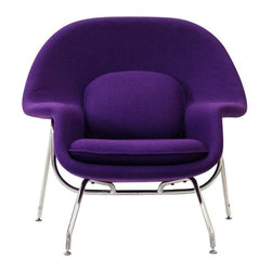 Modway - W Lounge Chair in Purple - Concerted efforts run deep in the expansively designed Womb Chair. First intended as a chair you can curl up in, it has since become a symbol for organic living. The natural motif portrays growth amidst silent resolve. Perhaps this is what makes the Womb both a reception and a lounge chair. Each of us would like to find our place as it were. Whether this means feeling welcomed in by the reception halls of businesses, or feeling welcome to relax into our own homes. While mid-century modernism showed us how to embark into the age of discovery, this finely upholstered classic taught us how to contemplate upon it. The shell of the Womb chair is made of molded fiberglass with foam padding. The legs are stainless steel and come with foot caps to prevent scratching on floors.