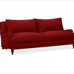 """Carlisle Upholstered Grand Sofa, Down-Blend Wrap Cushions, Twill Sierra Red - This masterfully upholstered version of our Carlisle Sofa accommodates both relaxed gatherings and special occasions with ease. Its trim, tailored look accentuates its prim profile, highlighting its intricately turned feet and the subtle S curve in the base, which parallels the traditional English roll arms. 90.5"""" w x 45"""" d x 34"""" h {{link path='pages/popups/PB-FG-Carlisle-3.html' class='popup' width='720' height='800'}}View the dimension diagram for more information{{/link}}. {{link path='pages/popups/PB-FG-Carlisle-4.html' class='popup' width='720' height='800'}}The fit & measuring guide should be read prior to placing your order{{/link}}. Down-blend wrapped cushions provide a casual and relaxed look. Proudly made in America, {{link path='/stylehouse/videos/videos/pbq_v36_rel.html?cm_sp=Video_PIP-_-PBQUALITY-_-SUTTER_STREET' class='popup' width='950' height='300'}}view video{{/link}}. For shipping and return information, click on the shipping info tab. When making your selection, see the Special Order fabrics below. {{link path='pages/popups/PB-FG-Carlisle-5.html' class='popup' width='720' height='800'}} Additional fabrics not shown below can be seen here{{/link}}. Please call 1.888.779.5176 to place your order for these additional fabrics."""