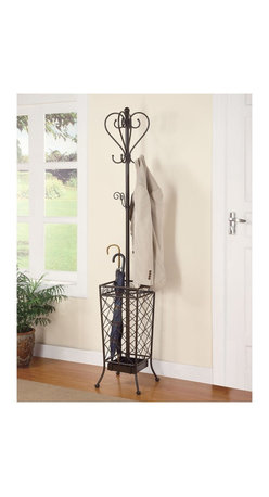 "Coaster - ""Coaster Coat Rack, Black"" - ""Elegantly designed metal coat rack, features curved accents and umbrella holder.Dimensions (W x L x H): 12.50"""" x 12.50"""" x 70.75""""Finish/Color: BlackAssembly Required: NoMade in China"""
