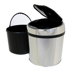 iTouchless - iTouchless 1.5 Gallon Round Stainless Steel Automatic Sensor Touchless Trash Can - Who would have ever thought that your trash could tell so much about who you are? A snack wrap, a piece of paper, or even a receipt could lead to nosy people snooping around your personal area. Keep them away with your own personal 1.5 gallon Sensor Waste Bin. With its compact design, it can fit into tight spaces such as underneath an office table, inside a kitchen sink cabinet, bathroom, bedroom, and kid's room.