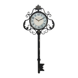 Decorative Antique Key Shaped Wall Clock - This clock adds a lovely accent to any wall in your home or office. Made of metal, it is shaped like an antique key, and measures 31 1/4 inches tall, 13 3/4 inches wide, 2 inches deep. The clock is 7 inches in diameter, features quartz movement, and runs on 1 AA battery (not included). This piece easily mounts to the wall with a single nail or screw by the hanger on the back. It makes a lovely gift, and is sure to be admired.