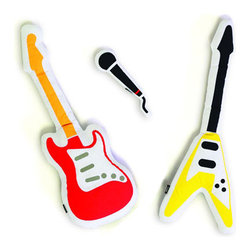 Pillow Band Pillow Instruments - If you have dreams of becoming a rock star, these pillows have you covered! Pillow Band Pillow Instruments are a fun way to practice your rock star charisma before slipping off to Dream Land. This set of pillows comes with two (2) guitars and a microphone: enough to start your very own pillow band! They make great throw pillows for a playroom couch, but will also provide hours of entertainment for kids! With the bed or couch as your stage and these pillows as your instruments, you'll be a star in no time! Bonus: Pillow Band pillows let you rock all night WITHOUT bugging the neighbors!