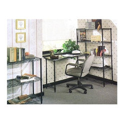 Metro Shelving - Compact Office Set with Wire Shelf Units - You can set up a work area anywhere with these compact units. They're designed to take advantage of smaller spaces, but stylish enough for a fully-scaled home office. Open grid shelving and desk extension are finished in black and feature solid framing.