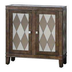 Uttermost - Uttermost Trivelin Wooden Console Cabinet 24374 - Tarnished silver finish on the wooden frame, with the doors, sides and top inset with a harlequin pattern of clear and bronze mirrors.