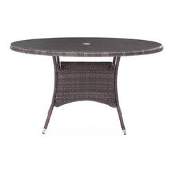 Grandin Road - South Bay Table - Chair and table crafted from all-weather polypropylene woven over a weather-resistant aluminum frame. Select a Chair, a Table, or an Umbrella; each piece is sold separately. Seat cushion and umbrella fabric is UV- and water-resistant. Some assembly required for umbrella; chair and table arrive assembled. Umbrella includes base. Alfresco dining is made simple with our South Bay Outdoor Collection. Natural-hued upholstery of the cushions and umbrella complements the sculpted, mocha-hued woven polypropylene forms of the chair and table.. . . . . Clean surfaces with a dry cloth; upholstery with a damp cloth and mild fabric cleaner. Imported.