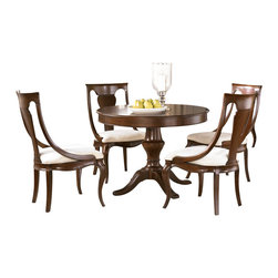 American Drew - American Drew Cherry Grove NG 5 Piece Round Dining Room Set in Brown - Cherry Grove New Generation line promises the same timeless quality and appeal with a full line of dining room, bedroom, home office, entertainment and occasional furniture. The line incorporates many elegant curves and graceful movement, and is updated with today's finishes, functionality and style. The inviting mid tone brown finish makes the cherry veneers pop on each piece, along with custom designed hardware. This line takes advantage of vertical space with higher case heights, and maximizes the utility of small spaces with hinged drop leaves on servers and tables. In combination, the collection takes functionality to a lifestyle level and allows urban or scaled-down living spaces to become entertainment areas, making small rooms work like big rooms. The New Generation of Cherry Grove is about honoring tradition while staying on trend.