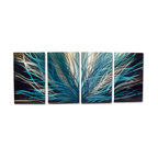 Miles Shay - Metal Wall Art Decor Abstract Contemporary Modern Sculpture- Radiance Blues - This Abstract Metal Wall Art & Sculpture captures the interplay of the highlights and shadows and creates a new three dimensional sense of movement as your view it from different angles.
