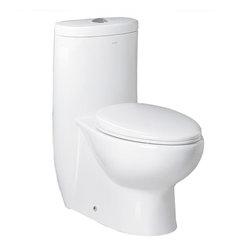 "Ariel Bath - Ariel Bath TB309-1M Ariel Platinum ""Hermes""  Contemporary One Piece White Toilet - Ariel cutting-edge designed one-piece toilets with powerful flushing system. It's a beautiful, modern toilet for your contemporary bathroom remodel."
