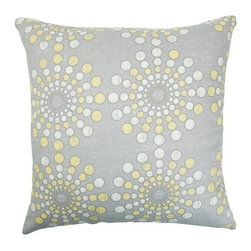 """The Pillow Collection - Laidley Dot Pillow Canary 18"""" x 18"""" - Pop this artsy throw pillow on your sofa for a funky look. Incorporate this contemporary pillow in your home design for a vibrant and cool space. This square pillow features a fun dot pattern in Canary colors: gray, white and yellow. This decor pillow is made from 100% cotton fabric perfect for snugging. Hidden zipper closure for easy cover removal.  Knife edge finish on all four sides.  Reversible pillow with the same fabric on the back side.  Spot cleaning suggested."""
