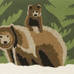 """Trans-Ocean - 24""""x36"""" Frontporch Bear Family Forest Mat - Richly blended colors add vitality and sophistication to playful novelty designs.Lightweight loosely tufted Indoor Outdoor rugs made of synthetic materials in China and UV stabilized to resist fading.These whimsical rugs are sure to liven up any indoor or outdoor space, and their easy care and durability make them ideal for kitchens, bathrooms, and porches. Made in China."""