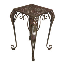 Oriental Furniture - Perforated Outdoor Garden Leisure Table - This elegant iron end table will bring a stylish antique touch to your home or garden. Its graceful curves and delicately latticed sides are finished with a rich faux-rust patina that harmonizes well with rustic and eclectic home decor. Durable and weather resistant, this is a great end table or plant stand for both inside and outside the home.