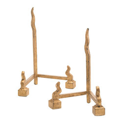 John Richard - John Richard Set of 2 Forged Charger Stands in Gold JRA-9400S2 - A set of two forged charger stands in gold. A set of two forged iron charger stands with a gold leaf finish.