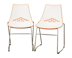 Baxton Studio - Baxton Studio Jupiter White and Orange Plastic Modern Dining Chair (Set of 2) - Bright and bold with color block styling, it is no wonder that the Jupiter Modern Dining Chair loves being in the spotlight! This simple chair is ideal for contemporary restaurants, casual dining rooms, and minimalist decor. The restaurant chair features a hard molded plastic seat with a white front and glossy orange back with a diamond cut-out design. Made of steel, the legs are sturdy with an attractive chrome finish. As an added bonus for small space' storage, or for easy cleaning, the chair is stackable. The Jupiter Chair is fully assembled, and features black non-marking feet.