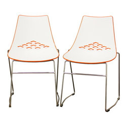 Baxton Studio - Baxton Studio Jupiter White and Orange Plastic Modern Dining Chair (Set of 2) - Bright and bold with colorblock styling, it is no wonder that the Jupiter Modern Dining Chair loves being in the spotlight!  This simple chair is ideal for contemporary restaurants, casual dining rooms, and minimalist d???cor.  The restaurant chair features a hard molded plastic seat with a white front and glossy orange back with a diamond cut-out design.  Made of steel, the legs are sturdy with an attractive chrome finish.  As an added bonus for small spaces, storage, or for easy cleaning, the chair is stackable.  The Jupiter Chair is fully assembled, and features black non-marking feet.