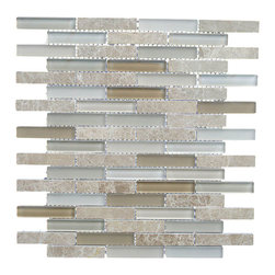 Century Glass - Century Stone Glass Liner Mix Mosaics, Beige Blend, 1 Sheet - Century Glass combines clear and frosted glass with real stone. Perfect for the kitchen backsplash or as a decorative accent anywhere in the home.