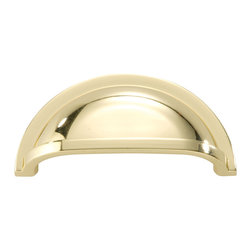 Hickory Hardware - Hickory Hardware 3 In. Williamsburg Polished Brass Cup Cabinet Pull - Bridges contemporary and traditional design.  Offering a deep rooted sense of history in some, with an updated feel and cleaner lines.  Crate & Barrel and Pottery Barn could be considered transitional looks.