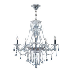 "Crystorama - Simone Chandelier - Large - Polished Chrome Chandelier. Takes 5 - 60 w/c bulbs. Chain: 72"" Wire: 120"""