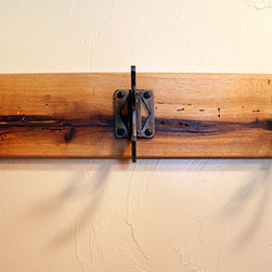 """The """"X"""" Hook Coat Rack - The """"X"""" Hook coat rack is a simple solution to keeping things in order. Suitable for almost any room, this coat rack is available with three or five hooks. Shown with reclaimed hickory.   Available in custom sizes.  Hooks are colored with an acid patina and sealed with a durable acrylic urethane."""