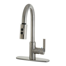Kingston Brass - Gourmetier Continental Single Handle Faucet with Pull Down Spout, Satin Nickel - Inspired by modern contemporary construction, The Continental pull-down faucet features a gooseneck-shaped spout which hangs over the sink built for easy washing. The long coil covering part of the sprayer is connected to the neckpiece for support. The chrome-plated finish adds long-lasting protection as well as a sleek flashy-looking decor for your kitchen.
