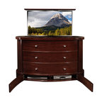 """Plasma TV lift cabinet, Fitch US Made TV lift cabinet comes in 5 woods - Fitch Plasma TV lift Cabinet designed by """"Best of Houzz 2014"""" for service Cabinet Tronix. Designer US made furniture perfectly married with premium US made TV lift system."""