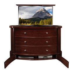 "Plasma TV lift cabinet, Fitch US Made TV lift cabinet comes in 5 woods - Fitch Plasma TV lift Cabinet designed by ""Best of Houzz 2014"" for service Cabinet Tronix. Designer US made furniture perfectly married with premium US made TV lift system."