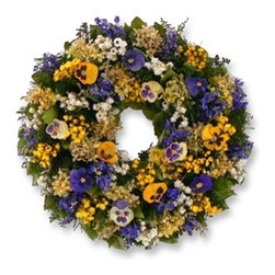 Balsam Hill - Balsam Hill Pansy and Hydrangea Spring Wreath - A FESTIVE CELEBRATION OF SPRING