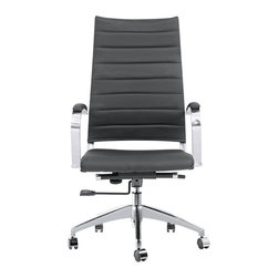 Lemoderno - Fine Mod Imports  Sopada Conference Office Chair High Back, Black - The Sopada Conference Office Chair offers unique design and comfort all in one package, making it a must-have for your contemporary office. Sopada Conference Office Chair looks great in the modern office or home based workstation. This contemporary chair is perfect for any office environment. Stainless Steel frame 5 star base with casters Tilt Tension, Tilt Lock Leather seat and back Assembly Required