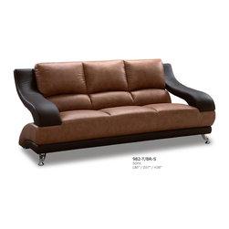 "Global Furniture - 982 Leather Sofa in Brown/Dark Brown - 982 Leather Sofa in Brown/Dark Brown;Features: Color: Brown/Dark Brown;Material: Bonded Leather / Leather Match;Legs Color/Material: Chrome/Metal;Dimensions: L80"" x D37"" x H38"""