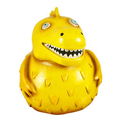 Allen Designs - Allen Designs Roaring Rex Dinosaur Piggy Bank Money - This whimsical dinosaur money bank is called `Roaring Rex` and is by Allen Designs. Made of cast resin, the bank features orange and yellow enamels, with red, aqua and white accents. The bank measures 5 inches tall, 5 inches long and 5 1/2 inches wide. The bank empties via a pull-off plastic piece on the bottom. He is hand-painted, and makes a great gift for dinosaur fans or anyone wanting to encourage a savings habit.