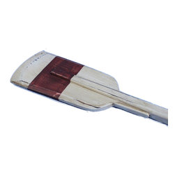 "Handcrafted Model Ships - Wooden Rustic Manhattan Beach Squared Rowing Oar 50"" - Beach Decor - This Wooden Rustic Manhattan Beach Squared Rowing Oar 50"" is the perfect classic wood paddle to display proudly on your wall. Use this rustic wooden oar with red stripe across the center of the scupper, to accent an open wall or to give as a nautical gift. Enjoy the competitive nautical style of this Rustic Manhattan Beach Squared Rowing Oar 50"", indoors or out, and place it with pride. Look at our other wooden boat oars we offer such as: University Rowing Oars, Yacht Club Oars, Rowing Club Oars, Collegiate Oars, Rustic Oars and Decorative Oars and paddles. Our wooden oars are offered with and without hanging hooks in the following sizes: 24�, 36�, 50� and 62�."