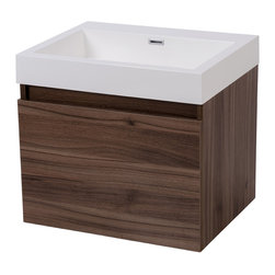 """24"""" Nara Modern Wall Mounted Bathroom Vanity & Basin - Enhance your bathroom with the compact design of Nara to create a larger feeling in your space.  Nara features an extra-large drawer for storage, as well as a hidden interior drawer, for maximizing your storage space. Nara shown in walnut finish. Faucet holes drilled to customers specifications. Includes Vanity, Basin, & Drain. Available in multiple finishes. Visit www.modernbathware.com for details."""
