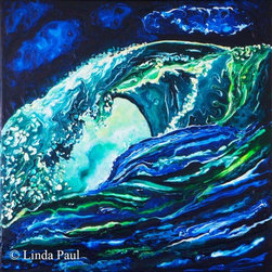"ocean Waves Art Painting and Artwork for sale - Super  Deal on this original 12"" x 12"" Ocean Wave painting from artist Linda Paul. Original acrylic on board -ready to hang on your wall. it has beautiful intense green and blue colors. Just $199.00 with free shipping!"