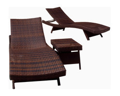 Great Deal Furniture - Brown Wicker 3-piece Adjustable Chaise Lounge Set - Elevate your outdoor space with the Lakeport Chaise Lounge and Table Set. The set includes 2 lounge chairs and a table made from weather-resistant PE Wicker. Its natural colors and exotic styling create a one-of-a-kind design that is perfectly suited beside a pool. The smooth, soft wicker is carefully and meticulously crafted and shaped to contour the body. The lounge backrest adjusts to your preference, and both the lounges and the table have folding legs for easy stacking.