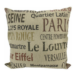 French Landmarks Colored Text Tan Burlap Throw Pillow 16 In. - Add a French accent to your worldly decor with this decorative throw pillow. It features colored text in a variety of font styles of several points of interest and landmarks in France. The pillow measures 16 inches tall, 16 inches wide, has a removable burlap cover and 100% cotton padding inside. This pillow looks great on beds, chairs, and couches anywhere in your home, and the neutral colors are sure to complement most any decor.