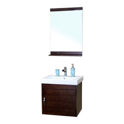 Bellaterra - 24.4 In Single Wall Mount Style Sink Vanity - Wood -  Walnut - Wall mount style vanity features with solid birch cabinet in rich walnut finish. Steel bracket in back for easy installation. Dimension: 24.4Wx19.5Dx23.6H * ** * Birch* Medium walnut* White Ceramic * White Ceramic Sink*Chrome finish hardware * Pre-drilled with 1 hole - One slot faucet, faucet and mirror not included* Slight assembly required. Dimensions: 24.4 in. x 19.5 in.