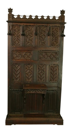 EuroLux Home - Consigned Antique 1880 French Oak Hall Tree Carvings - Product Details