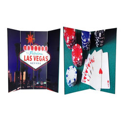 """Oriental Furniture - 6 ft. Tall Double Sided Las Vegas Poker Canvas Room Divider - Eye catching photographs, meaningful for any gambler or any poker player, are the focal subject of this room divider. On the front is a close up color photograph of a winning poker hand, with poker chips on a green felt game table. On the back is a night time photo of the neon """"Welcome"""" sign, the most famous street sign in Las Vegas. Bright colors and iconic imagery make this screen an interesting accent for any room. This four panel screen has different images on each side, as shown."""