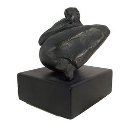 Woman in Blanket Holding Face, Bronze Sculpture - Artist:  Unknown (signed Rovy)