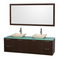 Wyndham Collection - 4-Drawer Wall Mount Vanity Set in Espresso Finish - Includes mirror, drain assemblies and P-traps for easy assembly. Faucet not included. Modern clean lines. Two functional doors. Four functional drawers. Eight stage preparation. Veneering and finishing process. Highly water-resistant low V.O.C. sealed finish. Unique and striking contemporary design. Modern wall mount design. Deep doweled drawers. Fully-extending soft-close drawer slides. Soft close door hinges. Single-hole faucet mount. Plenty of storage space. Green glass top. Ivory marble sinks. Engineered for durability, and to prevent warping and last a lifetime. 0.75 in. thickness. Made from highest quality grade E1 MDF. Metal exterior hardware with brushed chrome finish. Minimal assembly required. Mirror: 70 in. W x 33 in. H. Vanity: 72 in. W x 22.25 in. D x 21.25 in. H. Care Instructions. Assembly Instructions - Sink. Assembly Instructions - MirrorTruly elegant design aesthetic meet affordability in the Wyndham Collection Amare Vanity. The attention to detail on this elegant contemporary vanity is unrivalled.